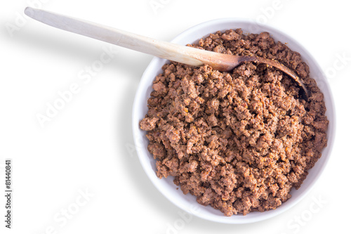фотография  Savory ground or minced beef mixture for tacos