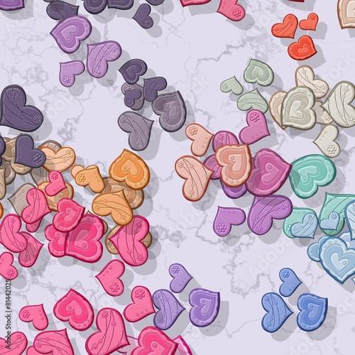Tapeta ścienna na wymiar Pastel colored hearts randomly scattered on patterned background
