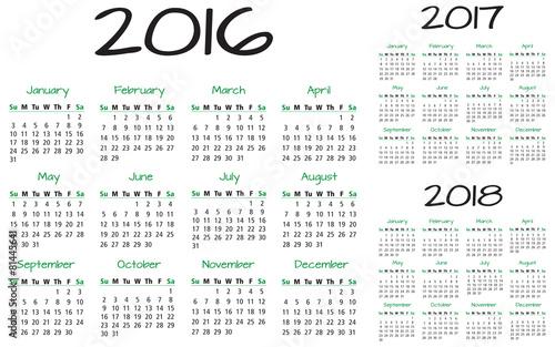 Fényképezés  English Calendar 2016-2017-2018 vector