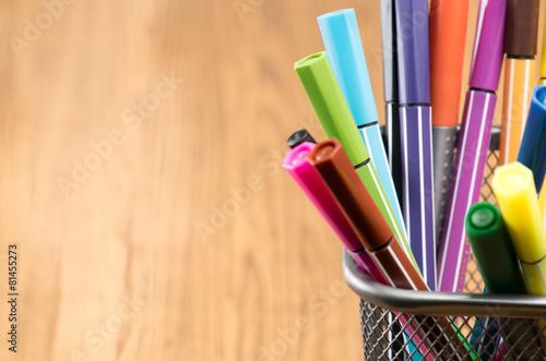 Fotografie, Obraz  Colorful pen in metal pen pot