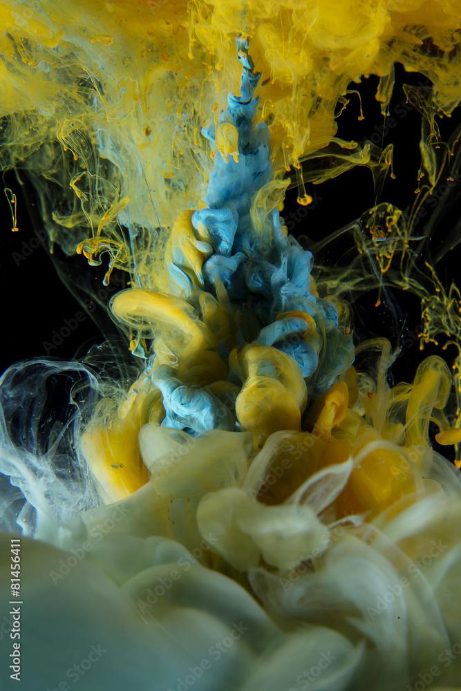 Fototapeta premium Niebieskie i żółte ciekłe kolory na czarnym tle
