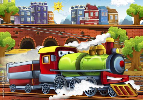cartoon-steam-pociag-dworzec-ilustracja