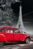 Fototapeta Wieża Eiffla - Eiffel Tower with old red car in Paris, France