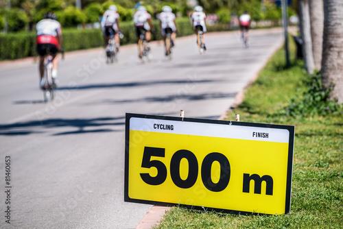 500 meters to Cycling race finish