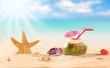 summer coconut drink on the beach