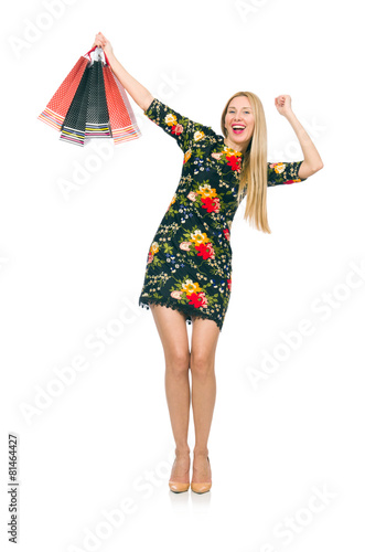 a777268c2c5e Woman in dark green floral dress isolated on white - Buy this stock ...
