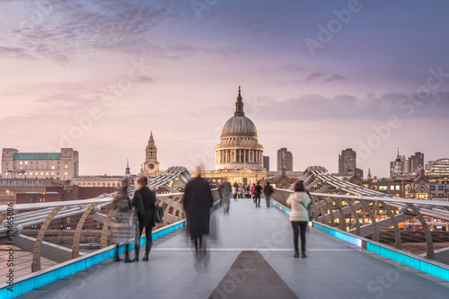 Symmetry on the Millennium Bridge to the St Paul's Cathedral Canvas Print