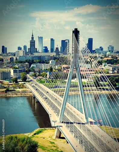 Obraz Most Świętokrzyski w Warszawie - fototapety do salonu