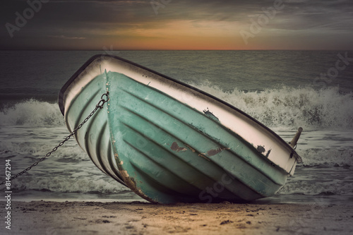 Vintage boat in stormy weather Wallpaper Mural
