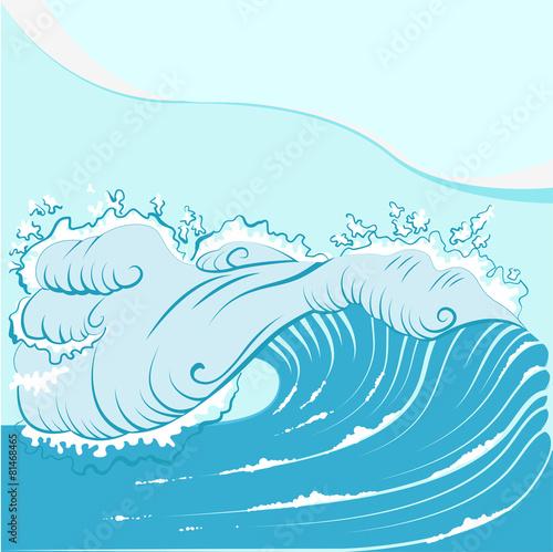 Blue foamy sea wave © orensila