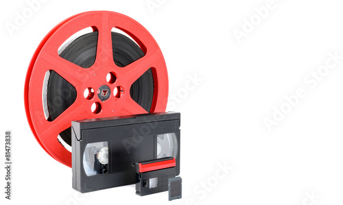 Valokuva  old reel of film, video tape and memory card