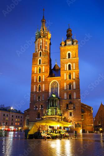 mata magnetyczna Bazylika Mariacka w głównym placu w Krakowie, Polska.