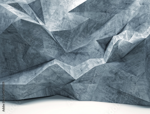 geometric abstract background with irregular polygonal shapes in concrete material and different sizes. nobody around.
