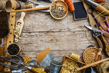 Garden Tools And Seeds On A Wooden Background, Frame