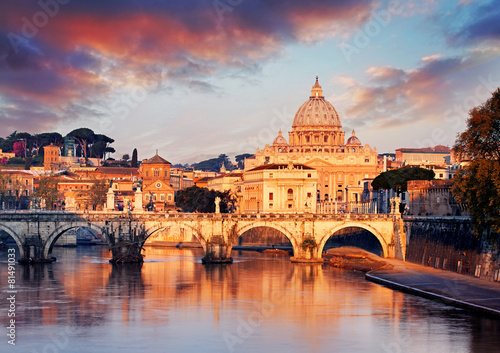 Poster Light pink Vatican city with St. Peter's Basilica