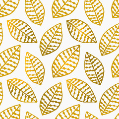 Panel Szklany Ornamenty Hand Drawn Leaves Seamless Pattern