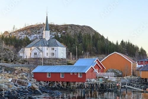 Staande foto Scandinavië Church in fishing village