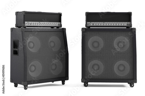 bass guitar amplifier isolated. Two points of view Wallpaper Mural