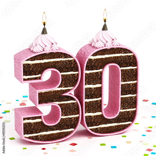 Number 30 shaped chocolate birthday cake with lit candle Buy this