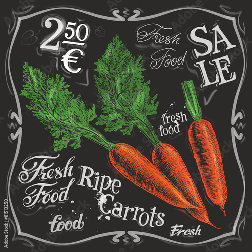 Leinwand Poster ripe carrots vector logo design template.  fresh vegetables