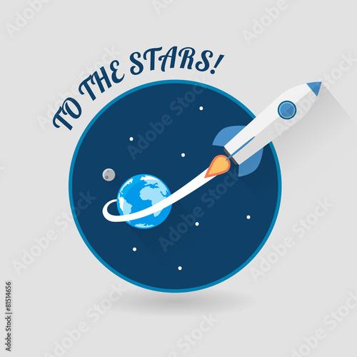 Foto op Canvas Kosmos Start Up Concept Space Roket Modern Flat Design