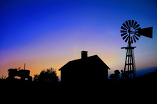 Silhouette Of A Farm Tractor, ...