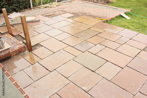 Cuadros en Lienzo Building and laying a natural stone patio