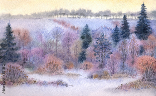 Door stickers Lavender Watercolor landscape. Winter forest in the valley