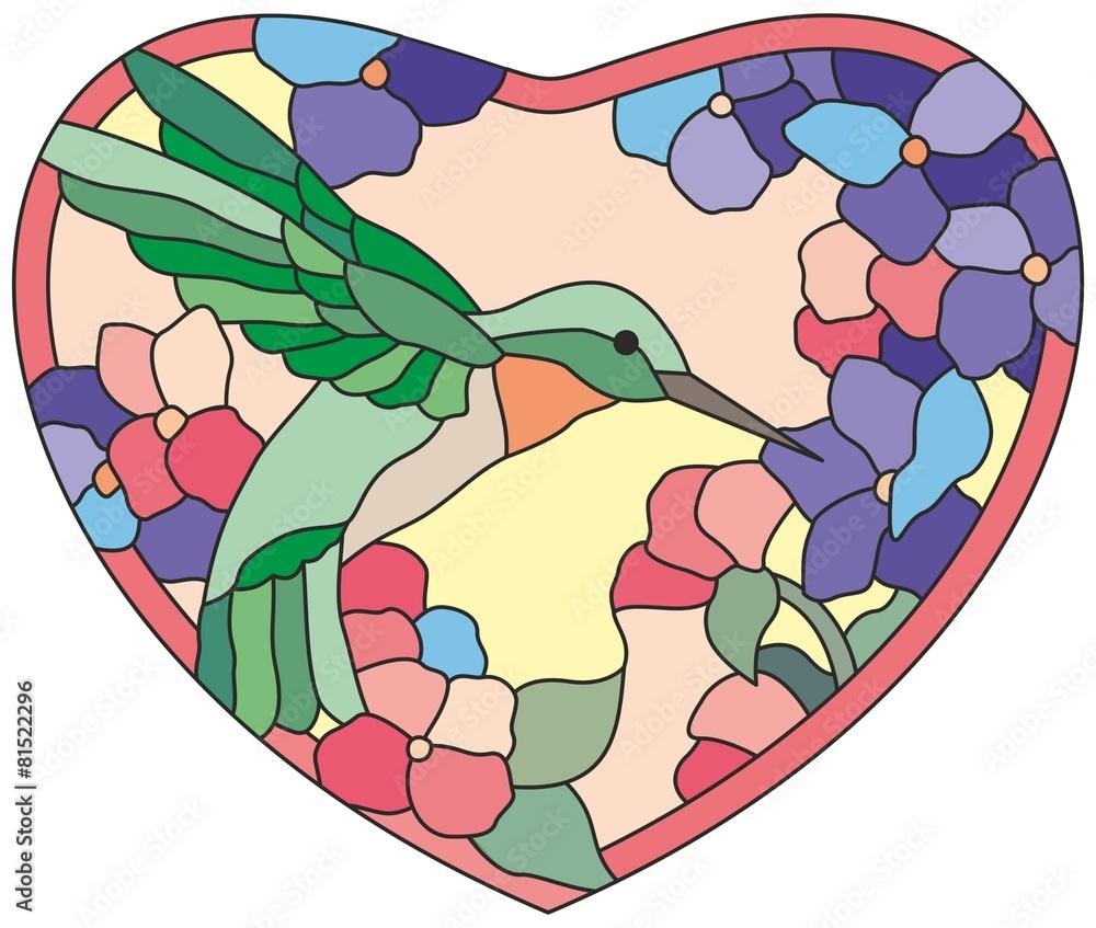 Rewelacyjny Naklejka na drzwi Witraż okno сolibri kwiaty serca DE73