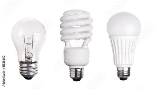 set of Light Bulb LED  CFL Fluorescent  isolated on white backgr Wallpaper Mural