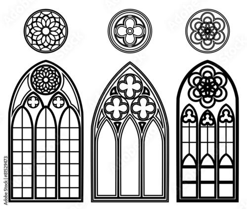 Fotografie, Obraz  Gothic windows of cathedrals
