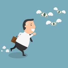 Businessman Fail And Money Fly...
