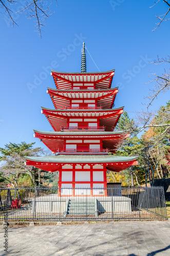 Spoed Foto op Canvas Bedehuis Chureito Peace Pagoda against blue sky