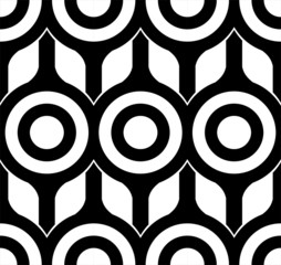 Panel Szklany Podświetlane Ornamenty Seamless Circles and Square Pattern black and white