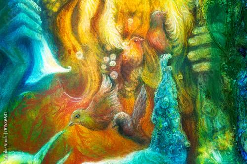 Fotografie, Obraz  Golden sun god, blue water goddess, fairy child and a phoenix bi