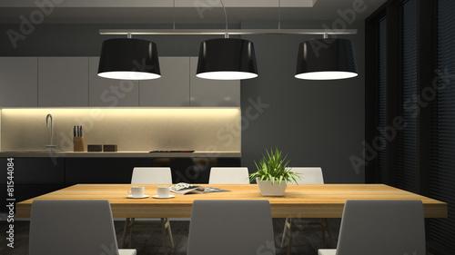 Fotografía  Night view modern interior of dining room 3D rendering