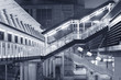 Futuristic stairway and pedestrian walkway in new modern buildin