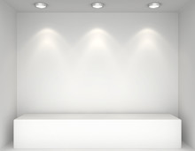 Showcase With Lights And Podiums For Samples Product