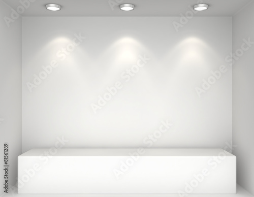 Fotografie, Obraz Showcase with lights and podiums for samples product
