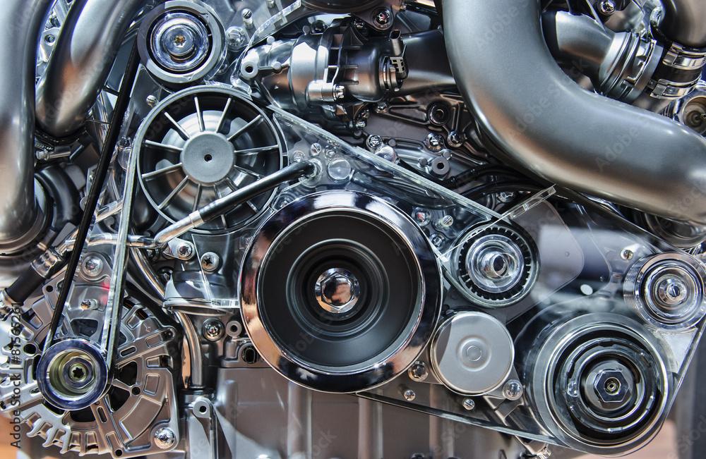 Fototapeta Car engine, concept of motor with metal, chrome, plastic parts