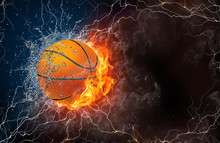 Basketball Ball In Fire And Wa...