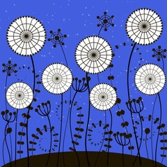 Panel Szklany bright blue background with white dandelions