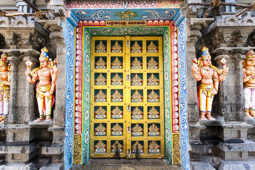 Rich decorated doors of the Hindu Sri Ranganathaswamy Temple