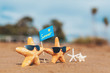 starfish family with eye glasses at the beach. Summer concept.