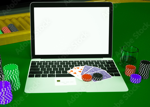 Cards and chips for poker on notebook. плакат