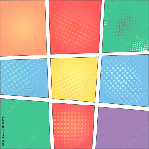 colorful template of comic book page with rays, stars, dots