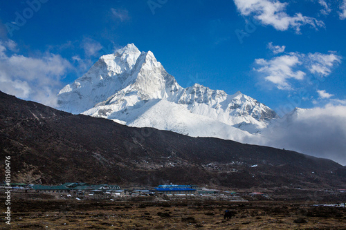 Photo  Ama Dablam mountain locality in Nepal