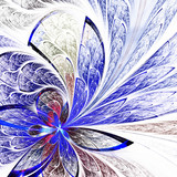 Beautiful flower pattern in stained-glass window style. Blue pal