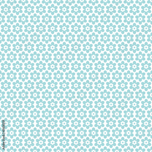 Seamless Retro Pattern Flowers Turquoise Wall mural