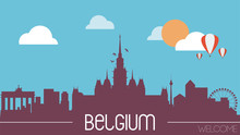 Belgium Skyline Silhouette Flat Design Vector Illustration